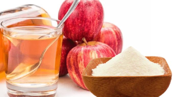Agua con vinagre de manzana y bicarbonato